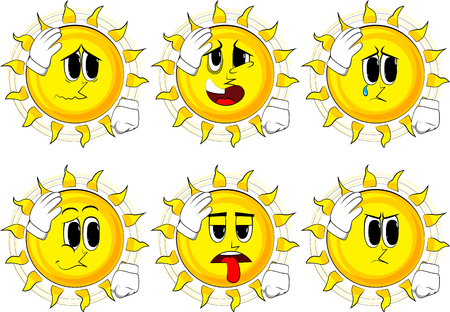 Cartoon sun placing hand on head. Face palm gesture. Collection with sad faces. Expressions vector set.