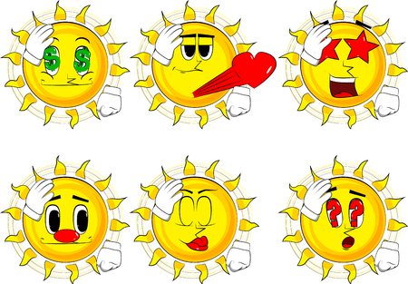 Cartoon sun placing hand on head. Face palm gesture. Collection with various facial expressions. Vector set. Stock Vector - 88619408