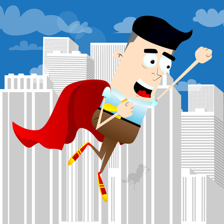 Businessman flying up with red cape as a superhero. Start up business concept. Vector cartoon character illustration.