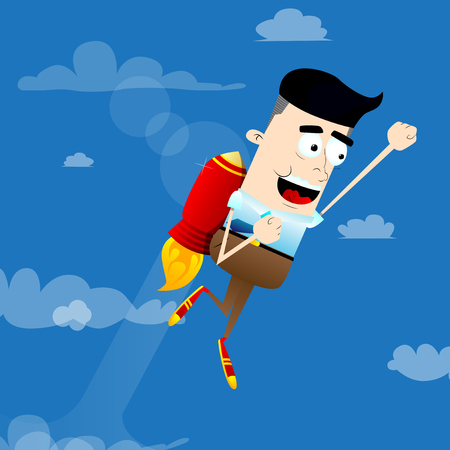 Businessman flying up with a rocket engine. Start up business concept. Vector cartoon character illustration.