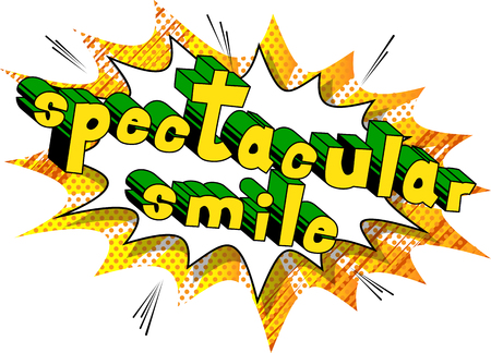 Spectacular Smile - Comic book style word on abstract background.