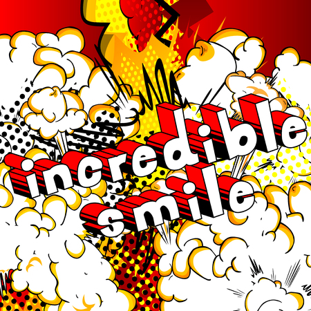 Incredible Smile - Comic book style word on abstract background.