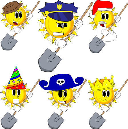 Cartoon sun holding a shovel. Collection with costume. Expressions vector set. Illustration