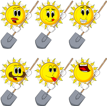 Cartoon sun holding a shovel. Collection with happy faces. Expressions vector set.