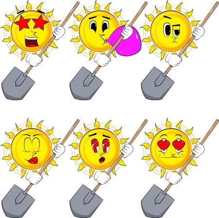 漫画の太陽はシャベルを持っている。様々な表情のコレクション。ベクトルセット。