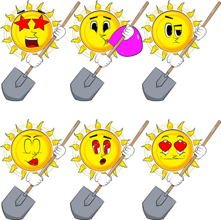 Cartoon sun holding a shovel. Collection with various facial expressions. Vector set. Ilustrace
