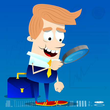 Businessman looking for investment opportunity with a magnifying glass. Vector cartoon character illustration.