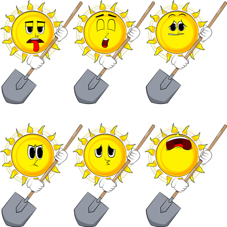 Cartoon sun holding a shovel. Collection with sad faces. Expressions vector set.