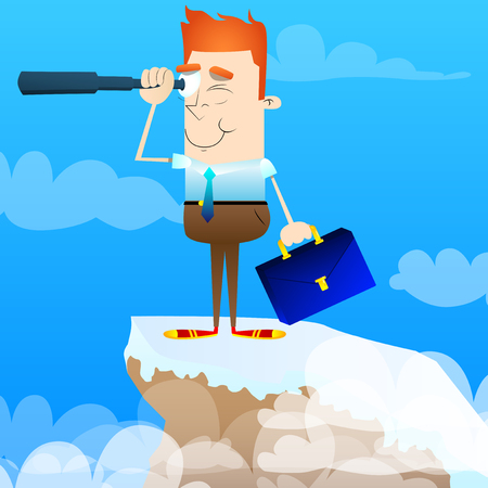 Businessman looking for investment opportunity with a magnifying glass on a mountain. Vector cartoon character illustration. Business concept.