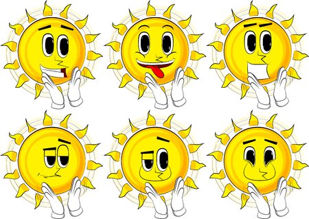Cartoon sun with clapping hands. Collection with happy faces. Expressions vector set. Ilustrace