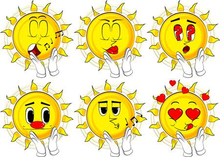 Cartoon zon met handen klappen. Verzameling met verschillende gezichtsuitdrukkingen. Vector set.