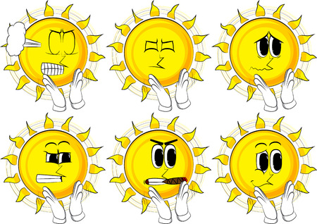 Cartoon sun with clapping hands. Collection with sad and angry faces. Expressions vector set.