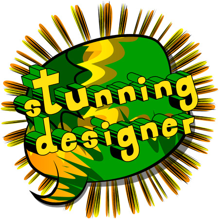 Stunning Designer - Comic book style word on abstract background. Illustration