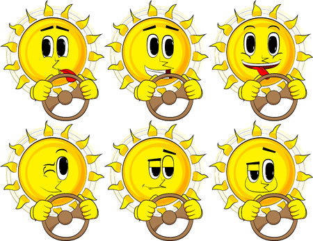 Cartoon sun driving, holding a steering wheel. Collection with happy faces. Expressions vector set.