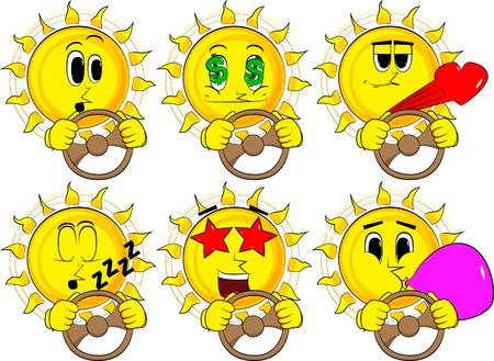 Cartoon zon rijden, met een stuurwiel. Verzameling met verschillende gezichtsuitdrukkingen. Vector set.