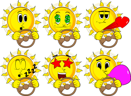 Cartoon sun driving, holding a steering wheel. Collection with various facial expressions. Vector set.