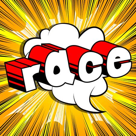 Race - Comic book stijl word op abstracte achtergrond. Stock Illustratie