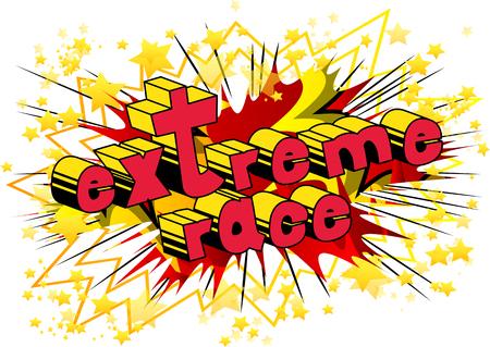 Extremes Rennen - Comic-Buch-Artwort auf abstraktem Hintergrund.