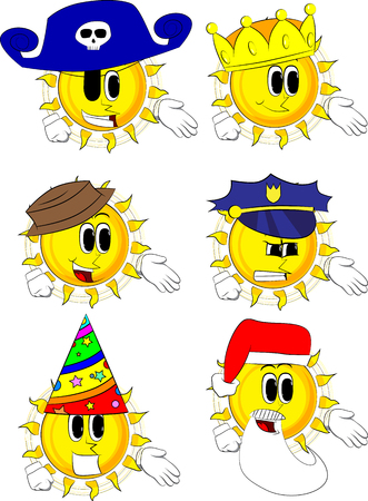 Cartoon sun giving a hand. Collection with costume. Expressions vector set.