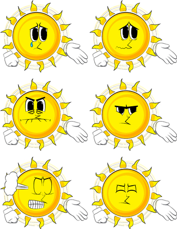 Cartoon sun giving a hand. Collection with sad faces. Expressions vector set.