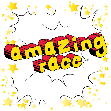 Amazing race comic book style word on abstract. Çizim