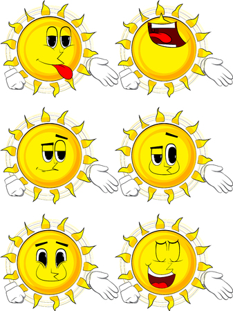 Cartoon sun giving a hand. Collection with happy faces. Expressions vector set. Иллюстрация