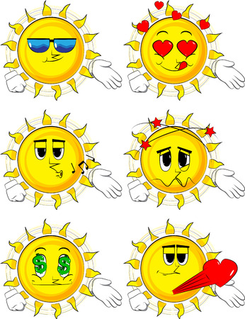 Cartoon sun giving a hand. Collection with various facial expressions. Vector set.
