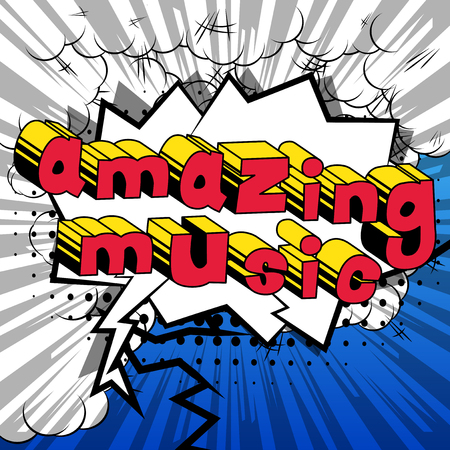 Amazing music comic book style word on abstract background.
