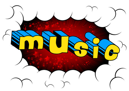 Music comic book style word on abstract background. Illustration