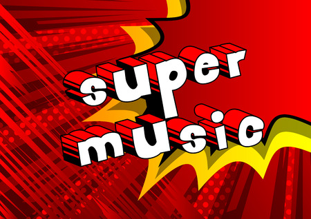 Super music comic book style word on abstract background. Illustration