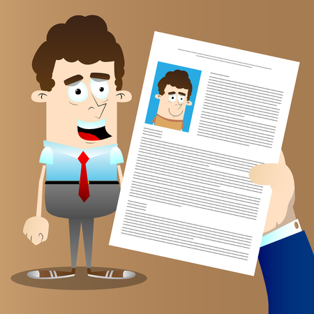 Man hand holding CV profile of candidate.