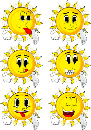 Collection of different sun expressions vector set. Illustration