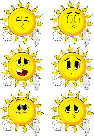 Cartoon sun giving a hand illustration. Иллюстрация
