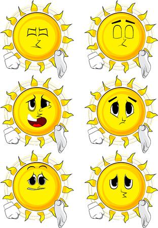 Cartoon sun giving a hand illustration. Illustration