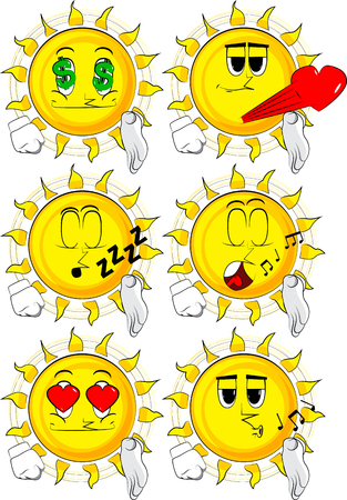 Collection with various sun facial expressions. Vector set.