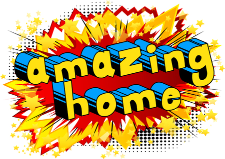 Amazing Home - Comic book style word on abstract background. Çizim