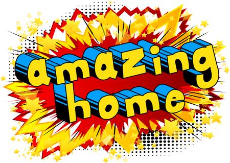 Erstaunliches Haus - Comic-Buch-Artwort auf abstraktem Hintergrund. Standard-Bild - 89095218