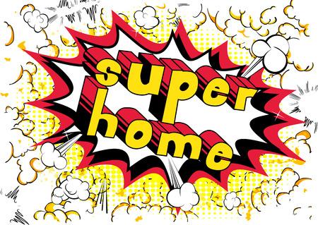 Superhaus - Comic-Buch-Artwort auf abstraktem Hintergrund. Standard-Bild - 89097212