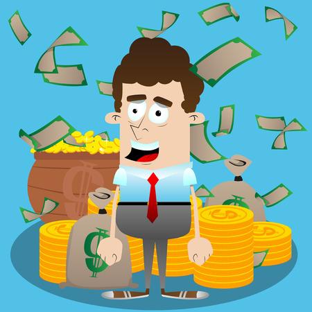 Uomo d'affari con i soldi Illustrazione del personaggio dei cartoni animati di vettore Concetto di business ricco. Archivio Fotografico - 89056575