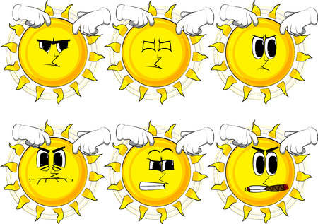 Cartoon sun scratching his head with two hands. Collection with angry faces. Expressions vector set.