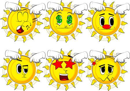 漫画の太陽が 2 つの手で彼の頭を悩ま。様々 な表情を持つコレクション。ベクトルを設定します。  イラスト・ベクター素材