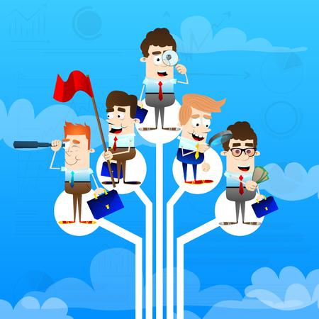 Group of businessmen standing on logic tree. Illustration