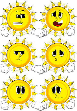Cartoon sun with different expressions doing handshake.