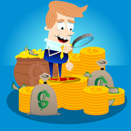 Businessman with money looking for investment opportunity. Vector cartoon character illustration. Rich Business concept.