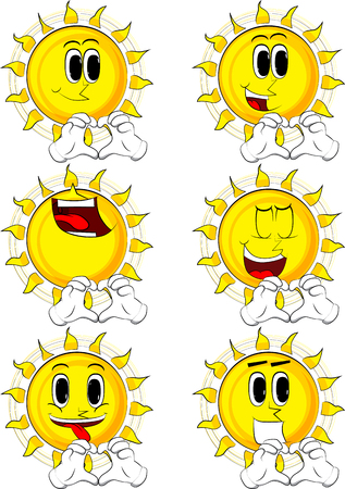 Cartoon sun with heart shape hand gesture. Collection with happy faces. Expressions vector set.