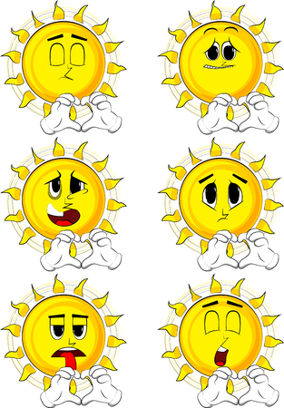 Cartoon sun with heart shape hand gesture. Collection with sad faces. Expressions vector set.