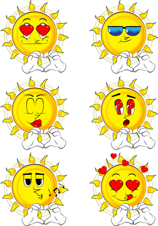 Cartoon sun with heart shape hand gesture. Collection with various facial expressions. Vector set.