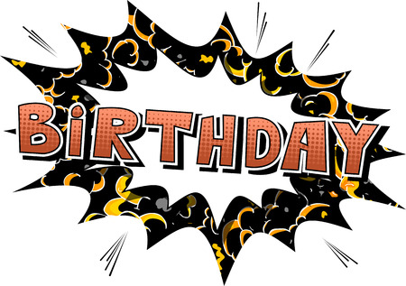 Birthday - Comic book style word on color background. Çizim