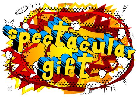 Spectacular Gift - Comic book style word on abstract background.