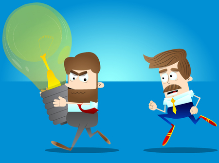 Business office worker with big idea running away from another businessman. Vector cartoon illustration.